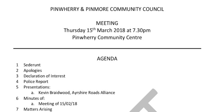 Notice of PPCC Meeting – 15th March 2018