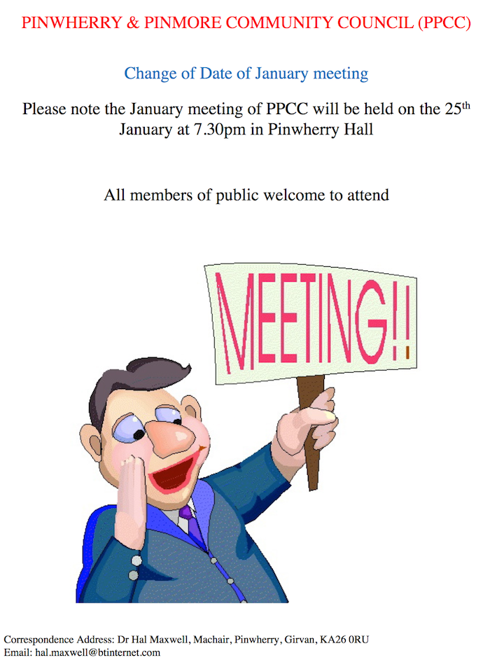 PPCC Change of Date of January Meeting